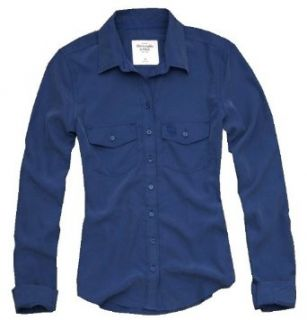 Abercrombie Womens Classic Long Sleeve Button down Shirt, Blue (Large)