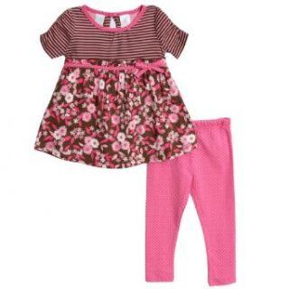 Baby Togs Infant Baby Girls 2 Piece Pink Floral Print Top Polka Dot Leggings Set Clothing