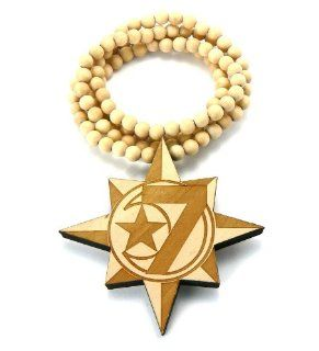 Natural Wooden 7 Moon & Allah Star Pendant with a 36 Inch Beaded Necklace Chain: Jewelry