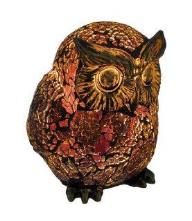 Amber Crackle Glass Owl Accent Lamp Bronzed Base   Table Lamps