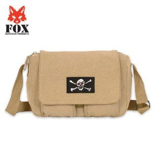 Khaki Jolly Roger Patch Vintage Retro Departure Shoulder Bag   8.5 x 12 x 4, Canvas Messenger Bag: Computers & Accessories