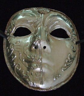 Ivory and Silver Round Mask Venetian Style Halloween Mardi Gras Masquerade Party