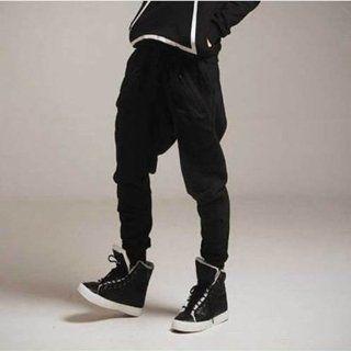 TRURENDI Men Casual Harem Baggy Jogging Hip Hop Dance Sport Sweat Pants Trousers (L, Black) Beauty