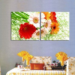 2 pieces Large Modern Abstract Art Oil Painting Wall Decals canvas (no frame)Small chrysanthemum