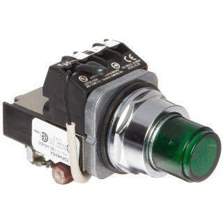Siemens 52PA6M3A Heavy Duty Push To Test Indicator Pilot Light, Incandescent Lamp, Water and Oil Tight, Plastic Lens, Resistor Type AC/DC, 24V 757 Type Lamp or 24V LED, Green, 1NC + 1NO Contact Blocks, 120 volts Industrial & Scientific