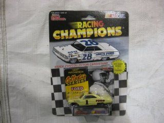 NASCAR #1 Dick Hutcherson Ford Racing Team Stock Car With Driver's Collectors Card And Display Stand. Racing Champions Collector's Series Ford Fastbacks With White #28 Lafayette Ford Series Car On Top Of Package. Toys & Games