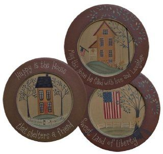 Plate and Stand Set   Primitive Happy Houses with Inspirational Messages   Country Rustic Wood Plates with Holders Saltbox, Trees, Flags, Everyday Decor   Free Standing Cabinets