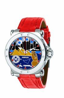 Gio Monaco Men's 766 A3 Graffiti Automatic Geographic Scenes Dial Red Alligator Leather Watch: Watches