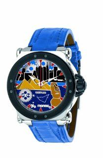 Gio Monaco Men's 767 A2 Graffiti Automatic Geographic Scenes Dial Blue Alligator Leather Watch: Watches