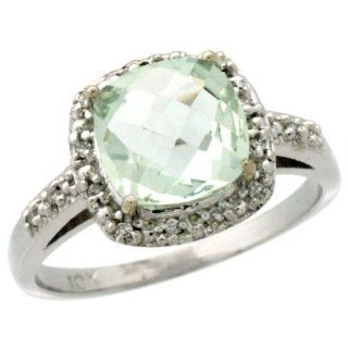 10K White Gold Diamond Natural Green Amethyst Ring Cushion cut 8x8mm, 1/2 inch wide, sizes 5 10: Green Amethyst Engagement Ring: Jewelry