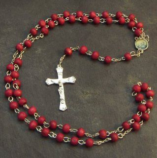 Wood wooden red long silver metal rosary beads necklace St. Benedict 75cm   Collectible Figurines