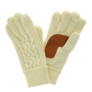 Isotoner Womens Ivory Cuffed Cable Knit Gloves Fleece Lined Off White Iso at  Women�s Clothing store: Cold Weather Gloves