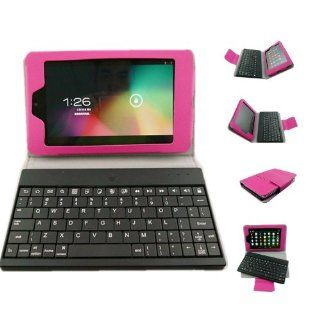 Monlyn Luxury Rose PU Leather Ultra Slim Stand + Smart Case Cover With Wireless Bluetooth Detachable Removable Keyboard For Google Nexus 7 Tablet 2013 Generation Android 4.3 Computers & Accessories
