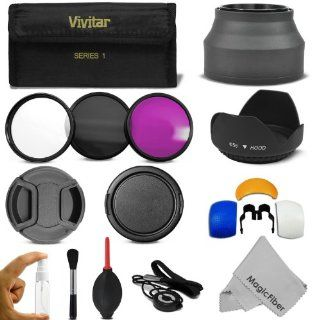 58MM Professional Accessory Kit for CANON EOS Rebel T5i T4i T3i T3 T2i T1i XT XTi XSi SL1 DSLR Cameras   Includes Vivitar Filter Kit (UV, CPL, FLD) + Carry Pouch + Lens Hoods (Tulip and Collapsible) + Flash Diffuser Set + Lens Caps (Center Pinch and Snap