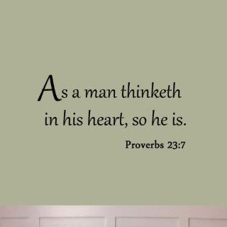 As a Man Thinketh in His Heart So He Is Proverbs 23:7 Wall Decal Quote Bible Religious Scripture Christian Wall Art Sticker   Wall Decor Stickers