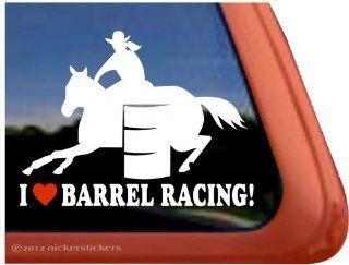 I Love Barrel Racing Barrel Horse Trailer Vinyl Window Decal Sticker Automotive