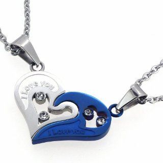 D&J Couple Stainless Steel Necklace Sets I Love You Heart Shape Pendant (Blue & Silver): Jewelry