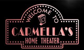 phg795 r Carmella's Home Theater Popcorn Bar Beer Neon Light Sign