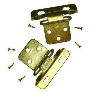 """Semi Concealed Cabinet Hinge, 1/4"""" Overlay, Partial Wrap, Polished Brass.   Cabinet And Furniture Hinges"""