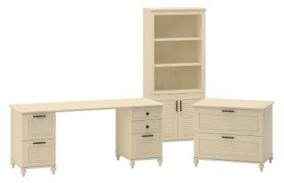 kathy ireland Office by Bush Furniture Home Office Bundle Double Pedestal Desk with Lateral File   Driftwood Dreams   Desks