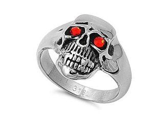 Men's Heavy Scary Skull CZ Eyes Ring Stainless Steel Comfort Fit Band New 21mm Size 14: Jewelry