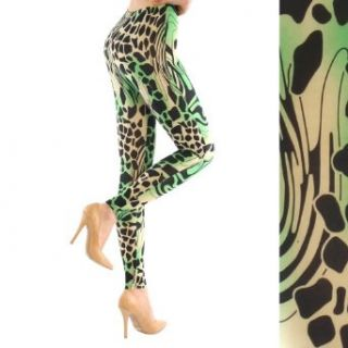 Fashion Chic pant Tiger green print leggings Small PCS1179 at  Women�s Clothing store