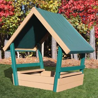 Kidwise Congo Kid's Chalet Sandbox with Roof   Green/Brown   Sandboxes
