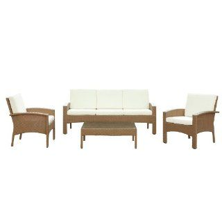 LexMod Brook Outdoor Wicker Patio Sofa and 2 Arm Chair Set with Rattan Oatmeal Coffee Table and White Cushions  Outdoor And Patio Furniture Sets  Patio, Lawn & Garden
