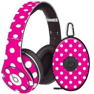 White Polka Dot on Hot Pink Decal Skin for Beats Studio Headphones & Carrying Case by Dr. Dre: Electronics