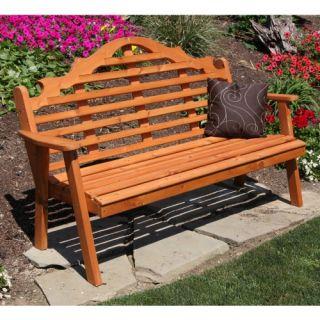A & L Furniture Western Red Cedar Marlboro Garden Bench   Outdoor Benches