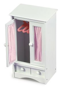 Badger Basket Pink Gingham Princess Doll Armoire   Baby Doll Furniture