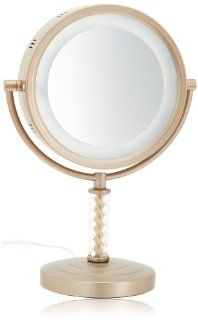 Jerdon HL856BC 8 Inch Tabletop Two Sided Swivel Halo Lighted Vanity Mirror with 6x Magnification, 14 Inch Height, Brushed Brass Finish  Personal Makeup Mirrors  Beauty