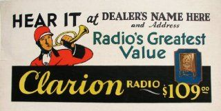 1920's Clarion Floor Model Antique Radio Vintage Antique Advertising Poster   Mixed Media Drawings