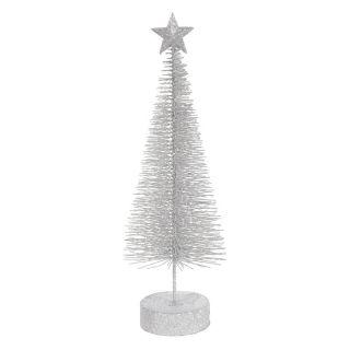 Vickerman 12 in. Silver Glitter Sisal Tree Star   Set of 2   Ornaments