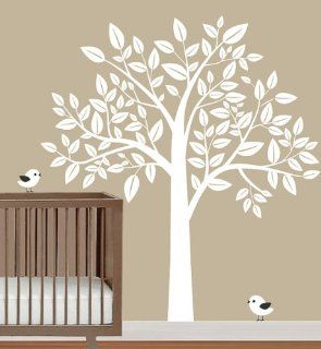 Nursery Big White Tree with Birds Trees Leaf Bird House Home Art Decals Wall Sticker Vinyl Wall Decal Stickers Living Room Bed Baby Room 838