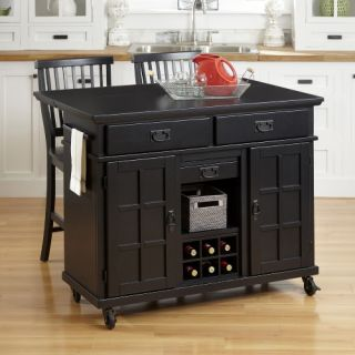 Home Styles Arts & Crafts Black 3 Piece Kitchen Cart and Two Stools Set   Kitchen Islands and Carts