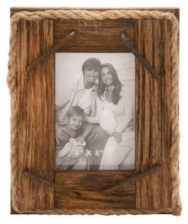 Rustic Wood and Rope Picture Frame   Picture Frames