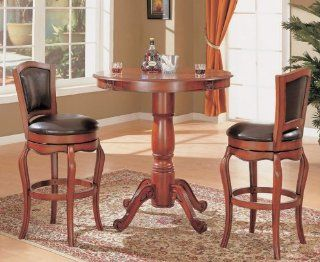 3pc Bar Table & Bar Stools Set with Pedestal Base Cherry Finish   Dining Room Furniture Sets