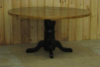 "Amish Round Oak Pedestal Table with 2"" Thick Barnwood Top   Dining Tables"