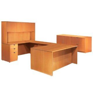 U Shaped Management Desk, with Credenza, Overhead Hutch, Files, Storage Cabinet, Lateral File, American Cherry   Office Desks