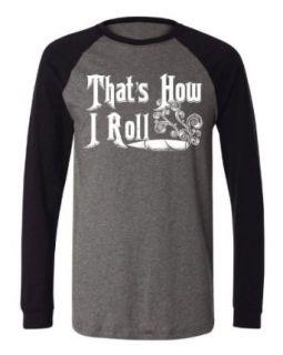 That's How I Roll Men's Long Sleeve Baseball T shirt, Funny Weed Marijuana Joint And Smoke Design Baseball Shirt Novelty T Shirts Clothing
