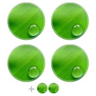 Dew Drop on Green Leaf Round Coaster (6 Piece) Circle Set Fabric Rubber 5 1/8 Inch (130mm) Size Coaster Cup Mug Can Water Bottle Drink Coasters Stain Resistance Collector Kit Kitchen Table Top Desk Kitchen & Dining