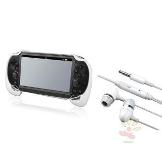 Everydaysource Compatible With Sony PlayStation Vita  White Hard plastic rubber coating Hand Grip + On off & Mic Headsets Video Games