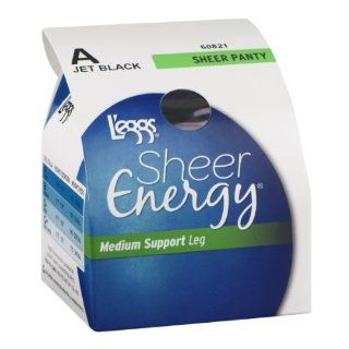 L'eggs Sheer Energy Medium Support Leg Sheer Panty A Jet Black 1CT (Pack of 3) : Medical Support Hose And Socks : Grocery & Gourmet Food