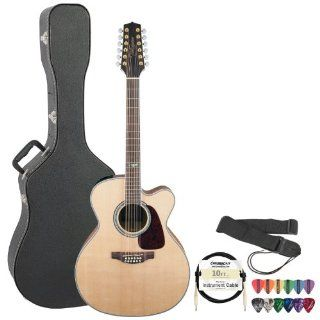 Takamine GJ72CE 12NAT Jumbo Cutaway 12 String Acoustic Electric Guitar w/ Strap, Cable, Pick Sampler & Hard Case Musical Instruments