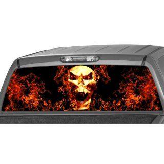 SKULL IN FLAMES Rear Window Graphic Decal Tint Sticker Truck suv ute glasscape Automotive