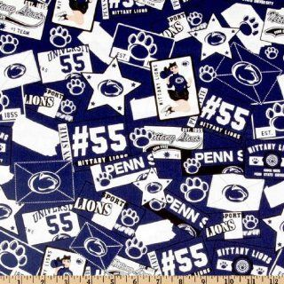 45'' Wide Collegiate Cotton Broadcloth Penn State University Blue/White Fabric By The Yard