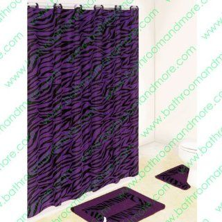 Purple and Black Zebra 15 piece Bathroom Set 2 rugs/mats, 1 fabric Shower Curtain, 12 fabric Covered Rings   Bathroom Accessory Sets