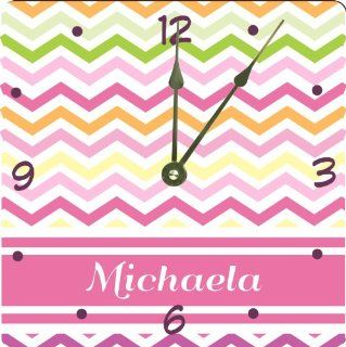 "Rikki KnightTM ""Michaela"" Pink Chevron Name Design 6"" Art Desk Clock   Wall Clocks"