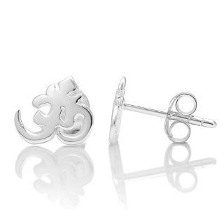 925 Sterling Silver Tiny Aum, Om, Ohm, Sanskrit India Symbol Post Stud Earrings for Women 10 mm: Chuvora: Jewelry